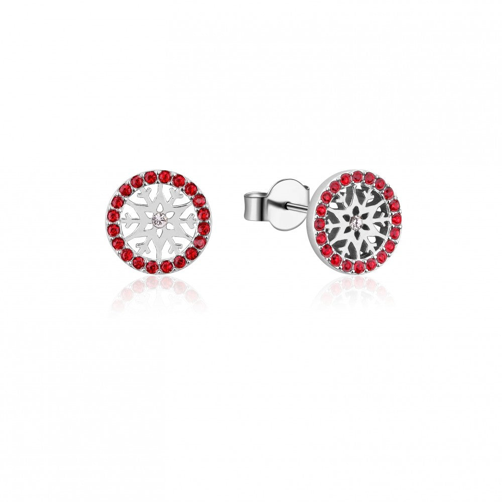 Disney Frozen II Sterling Silver Crystal Snowflake Birthstone Stud Earrings - JULY