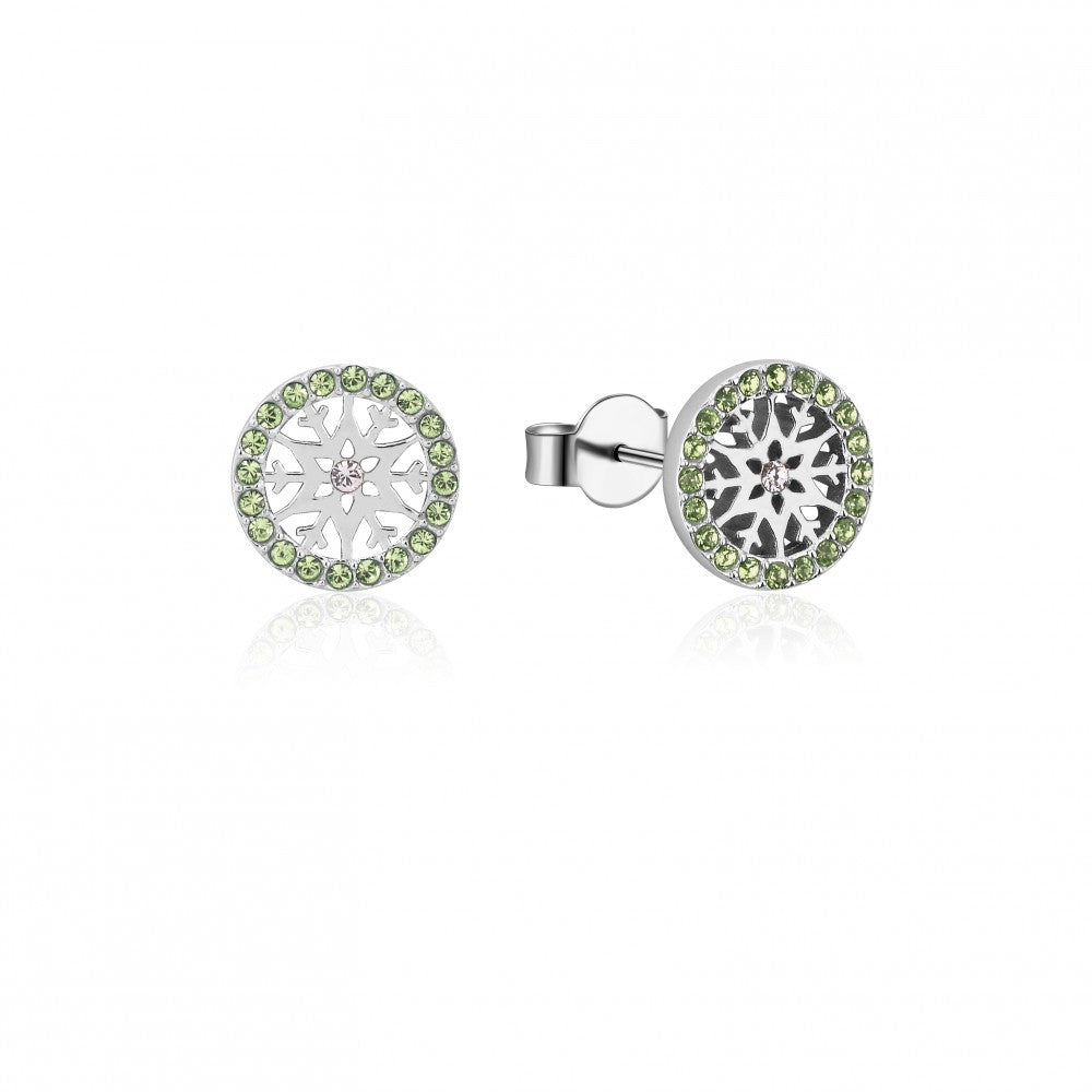 Disney Frozen II Sterling Silver Crystal Snowflake Birthstone Stud Earrings - AUG