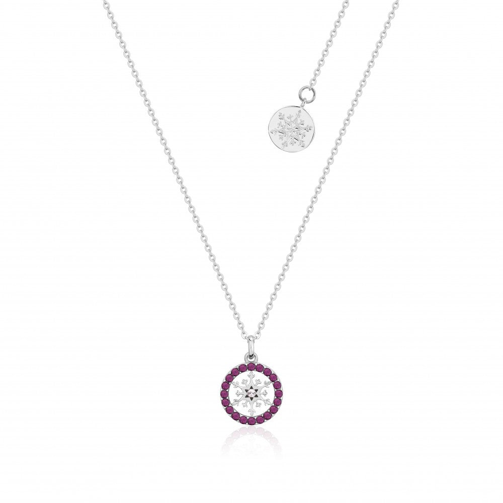 Disney Frozen II Sterling Silver Crystal Snowflake Birthstone Necklace - FEB