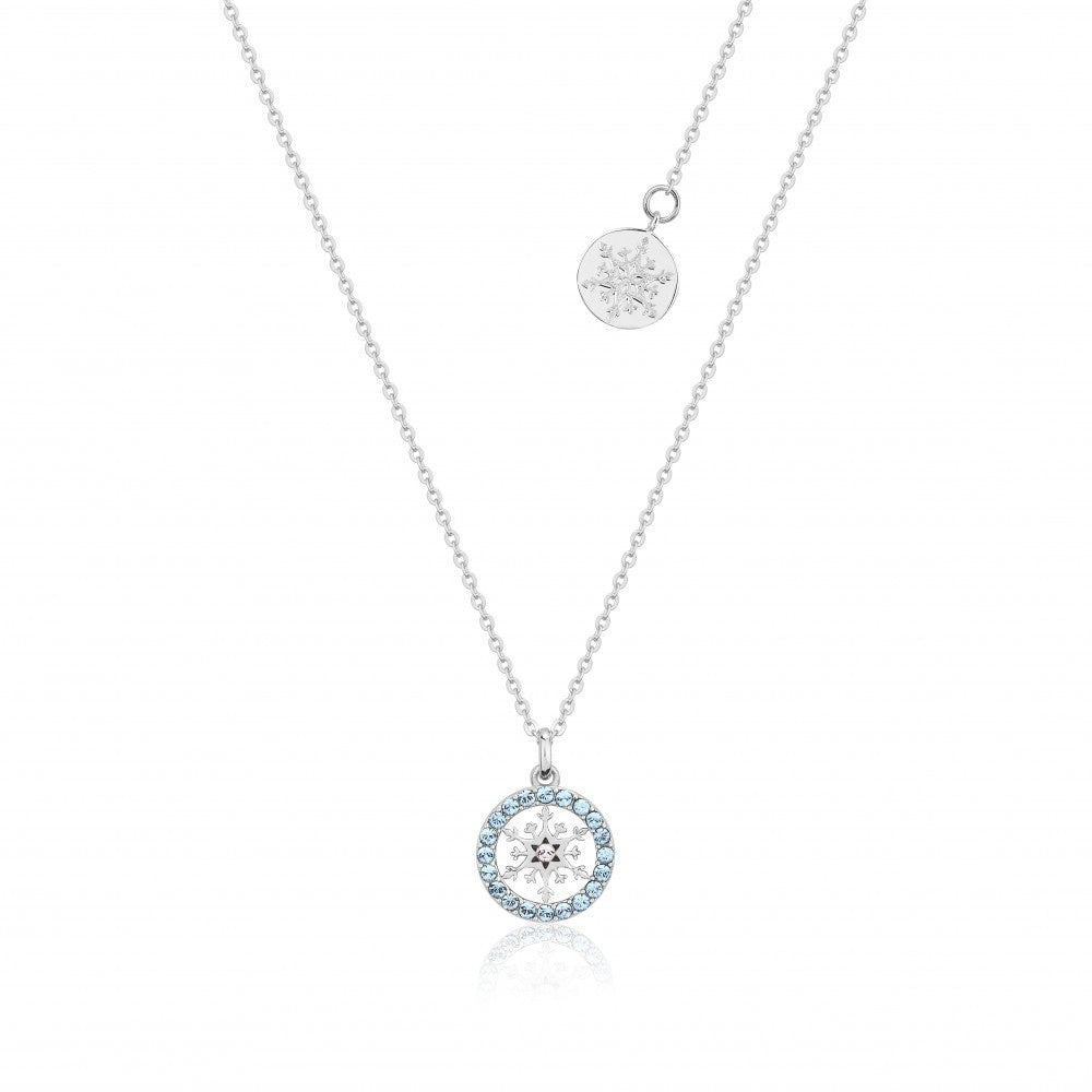 Disney Frozen II Sterling Silver Crystal Snowflake Birthstone Necklace - MAR