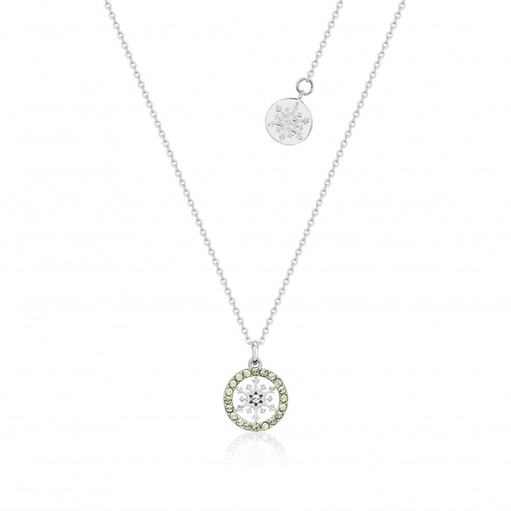 Disney Frozen II Sterling Silver Crystal Snowflake Birthstone Necklace - AUG