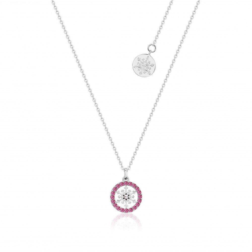 Disney Frozen II Sterling Silver Crystal Snowflake Birthstone Necklace - OCT