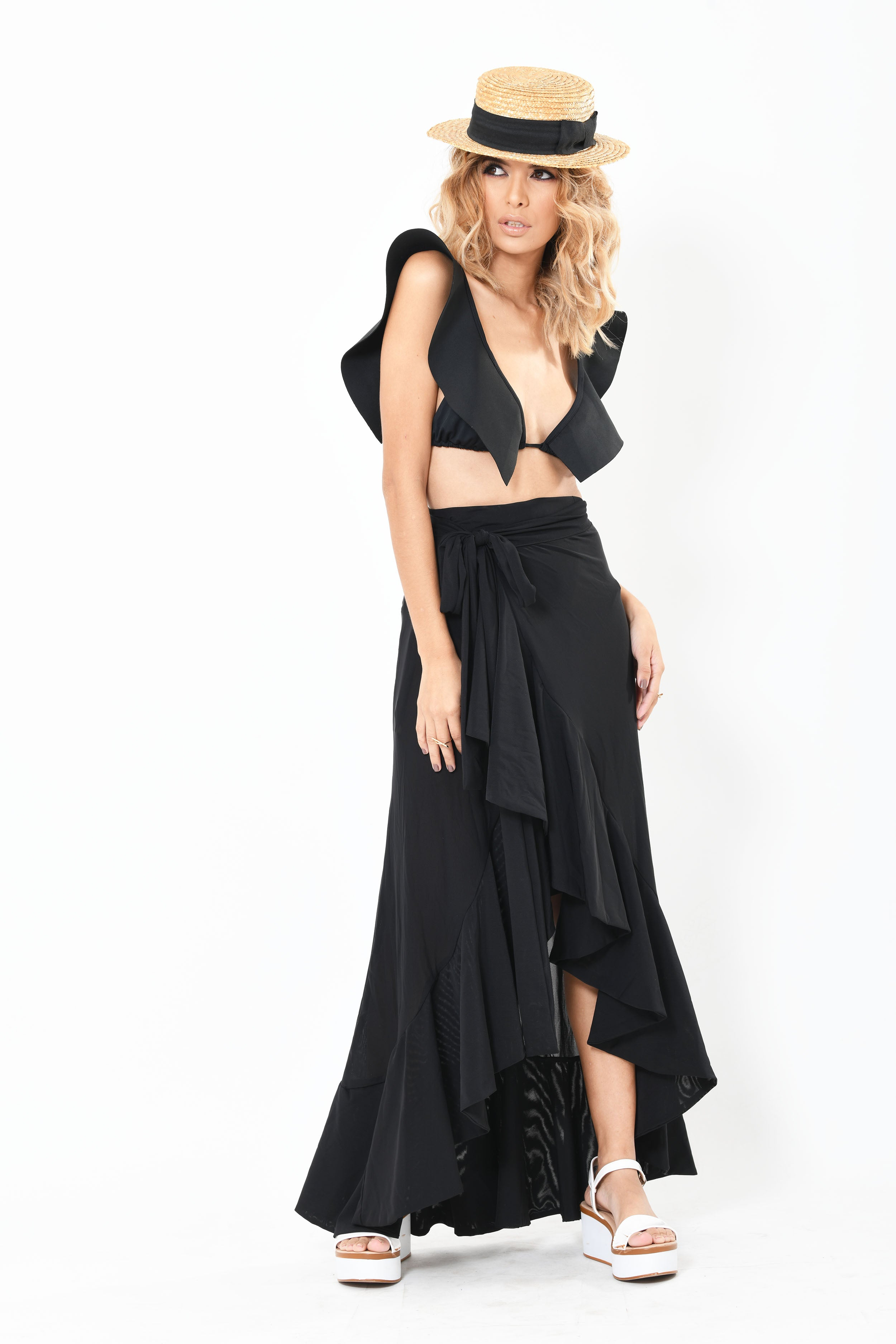 Wrap Around Ruffle Skirt