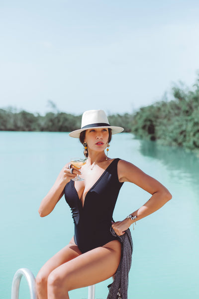 MILENA | One piece Black pique