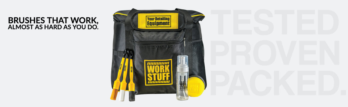 Work Stuff detailing bag, with brush kit, foam bottle, and the handy wax applicator plus