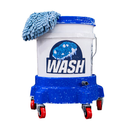 Blue Car Wash Bucket with Grit Guard 5-Caster Bucket Dolly and Autofiber Zero Cuff Microfiber Wash Mitt