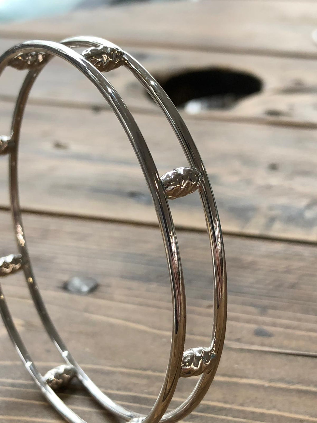 Double solid silver bangle