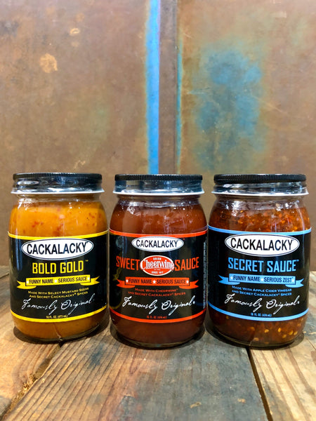 The Cackalacky® Cookout Trio! Tomato Vs. Vinegar Vs. Mustard Sauce Variety 3-Pack