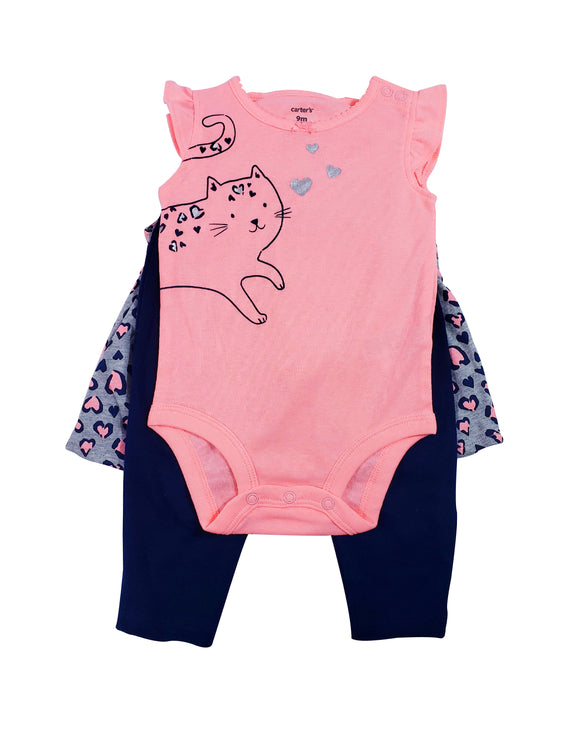Baby Girl Leopard Kitty 3-piece Set