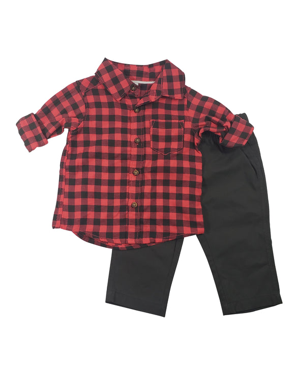 Baby Boy Checkered Button Down 2-piece Set