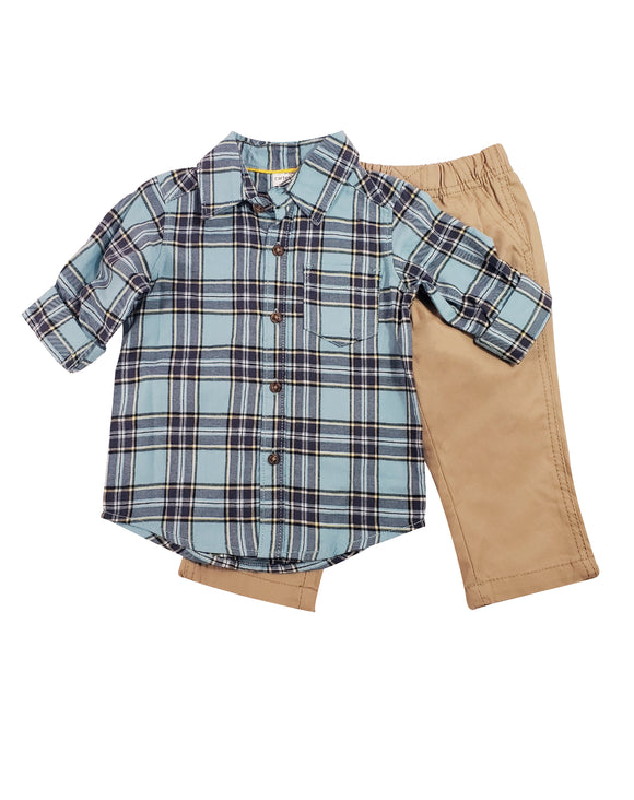 Baby Boy Plaid Button Down 2-piece Set
