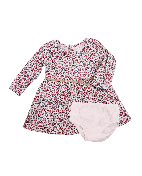 Baby Girl Floral Belted Dress 3-piece
