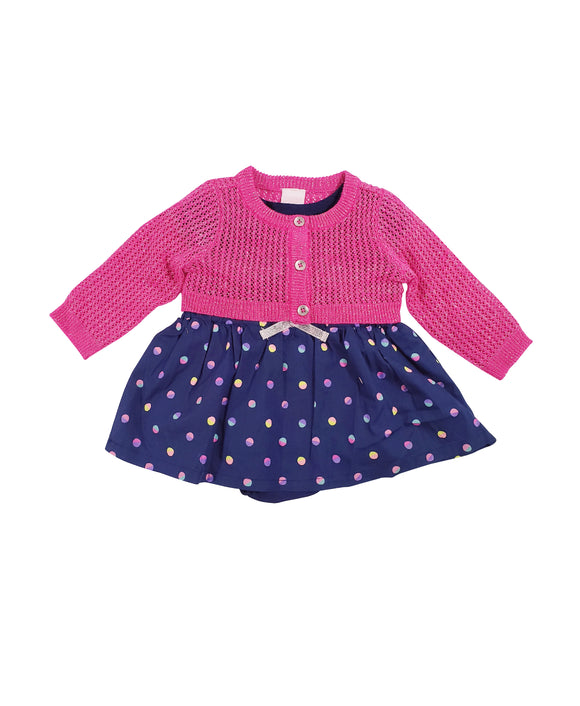 Baby Girl Confetti Dress w/ Cardigan 3-piece Set