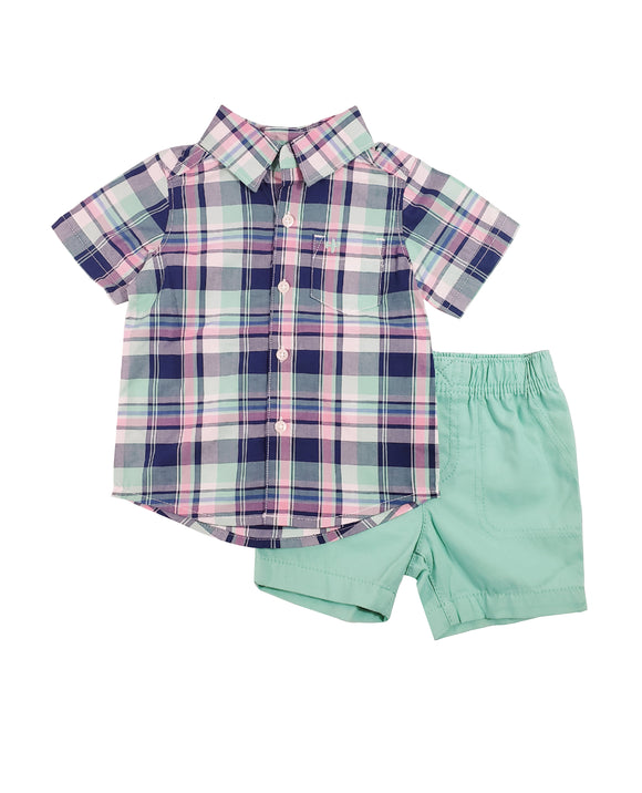 Toddler Boys Mint Button Down 2-piece Set