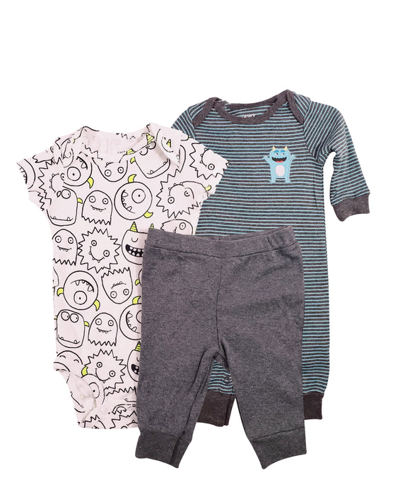 Baby Boy Monster Party 3-piece Set