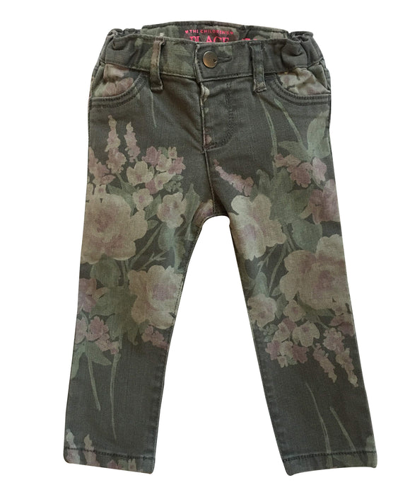 Baby Girl Floral Gray Wash Jeans