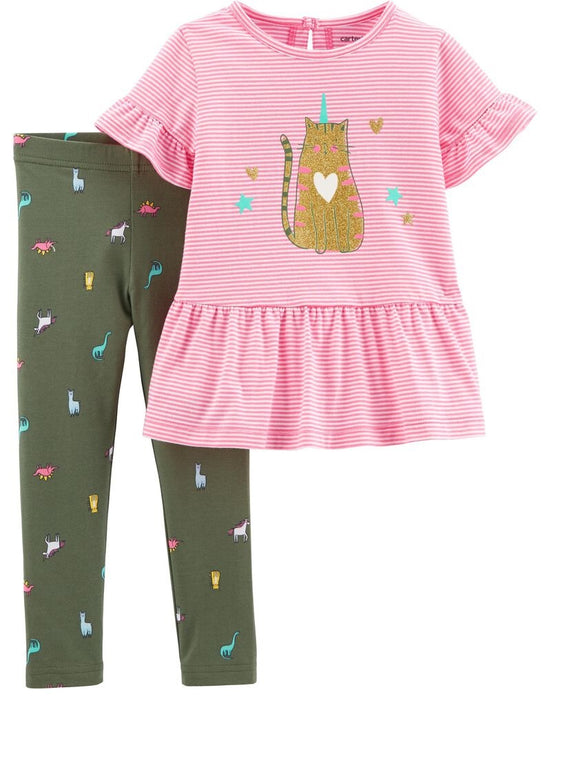 Baby Girl Glitter Kitty-corn 2-piece