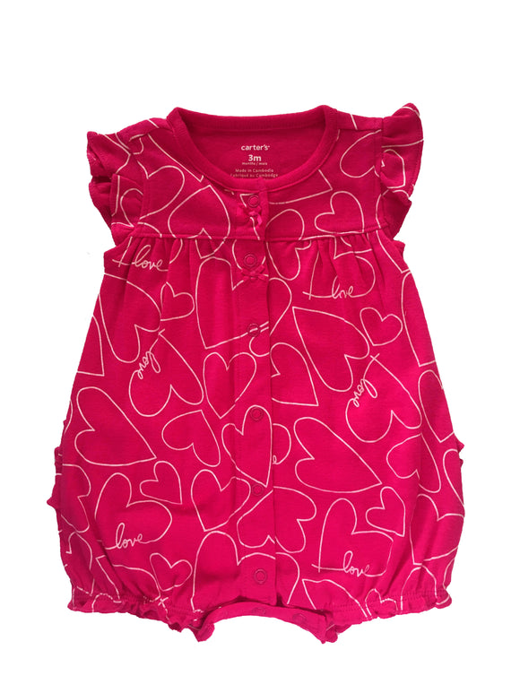 Baby Girl All Heart Fuchsia Onesie
