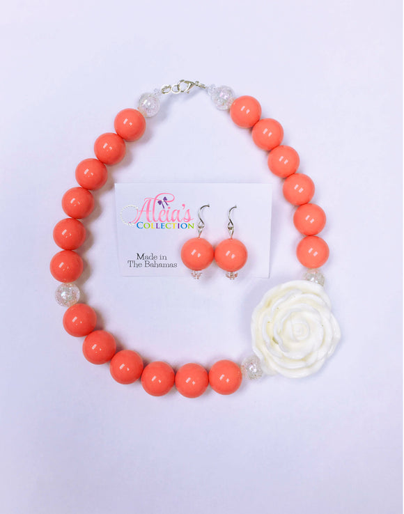 Coral Bubblegum Necklace & Earring Set