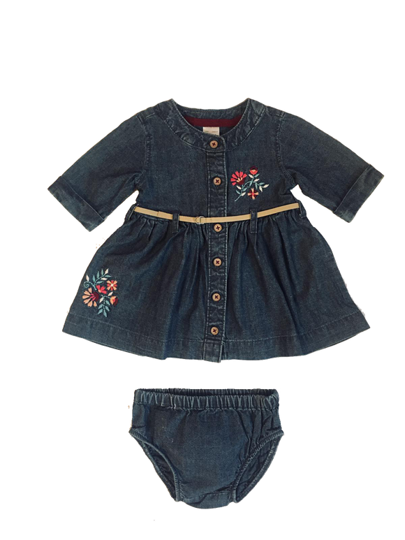Baby Girl Jean Belted Dress 3-piece
