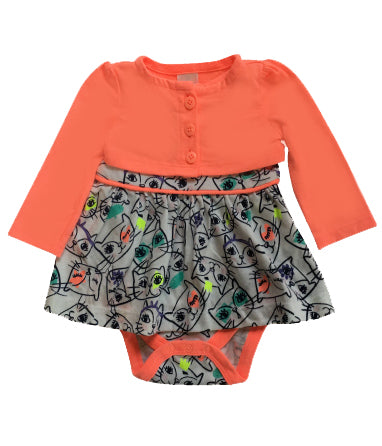 Baby Girl Peachy Cat Dress w/ Caridgan 2-piece Set