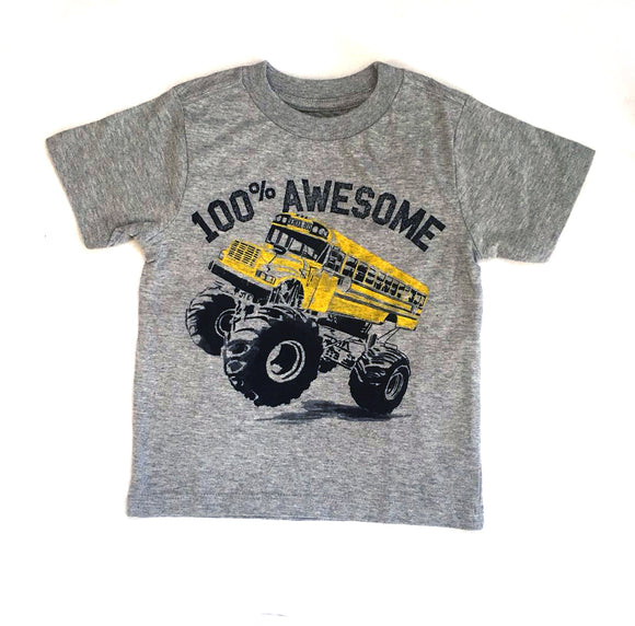 Toddler Boy 100% Awesome School Bus T-shirt