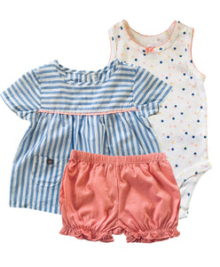 Baby Girl Peach Confetti 3-piece Set