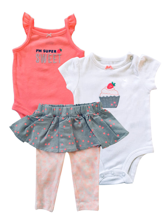 Baby Girl Strawberry Cupcake 3-piece Set