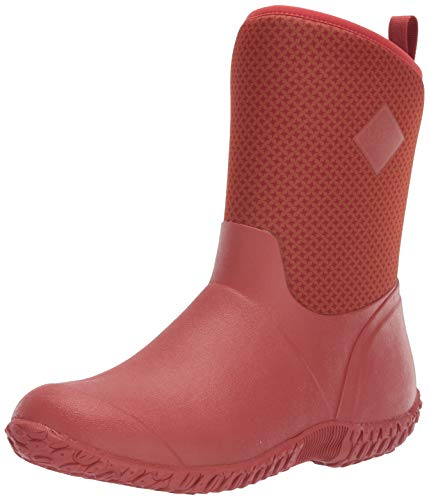 Muck Boot Women's Muckster II Mid Rain Boot, Orange/Roses Print, 5 M US