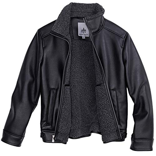 Rainforest Faux Leather Shearling Aviator Jacket for Men