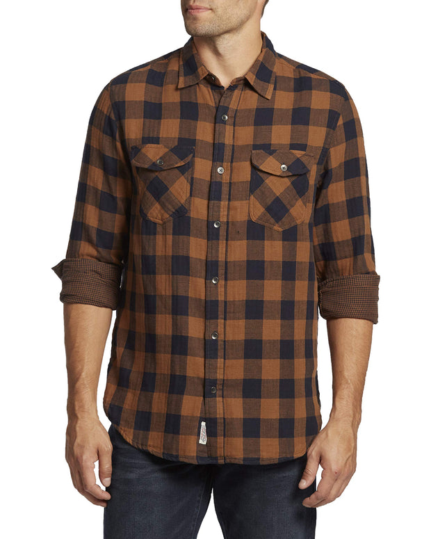 Flag & Anthem Men's Double Layer Plaid Long Sleeve
