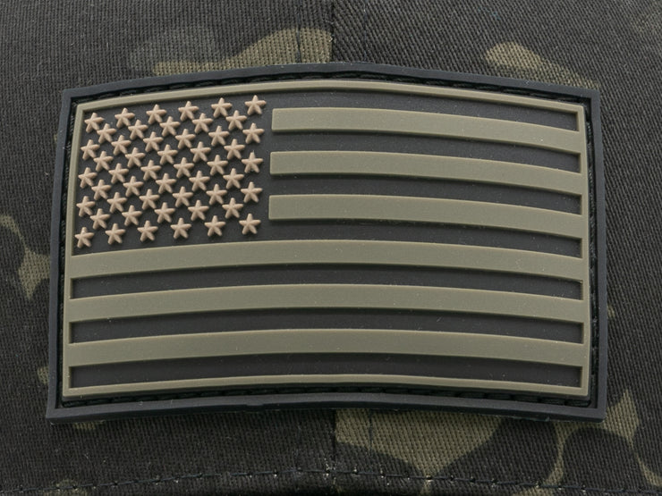 New Stars and Stripes American Flag PVC Patch Trucker Hat Multicam Black Camo OSFA