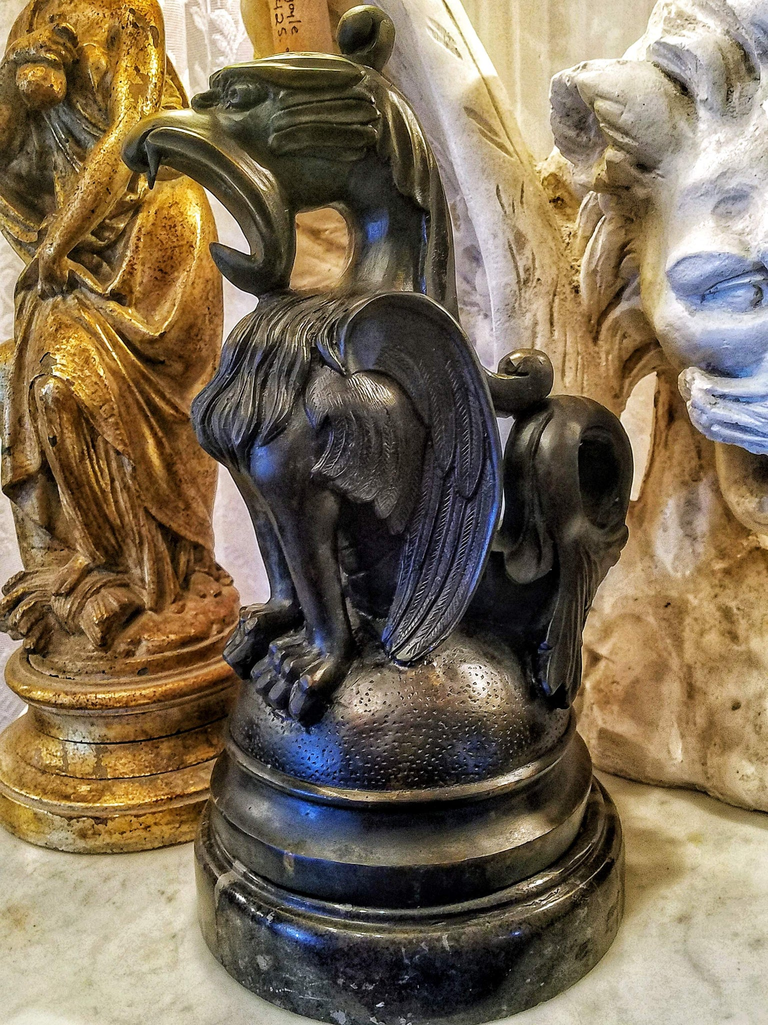 Bronze Fishtail Griffin Statue on Marble Base