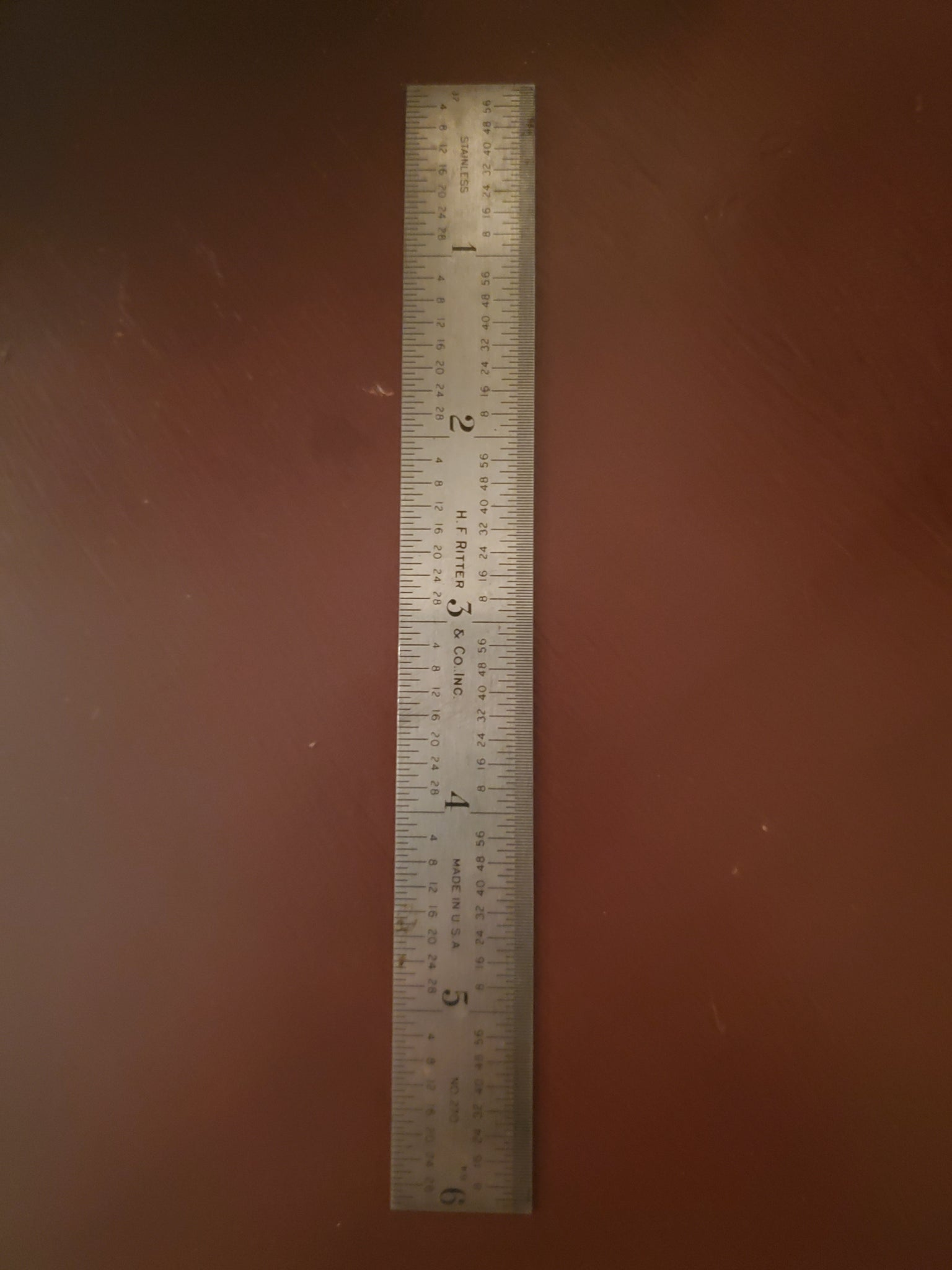 "Vintage H. F. Ritter & Co. 6"" Stainless Steel Ruler"