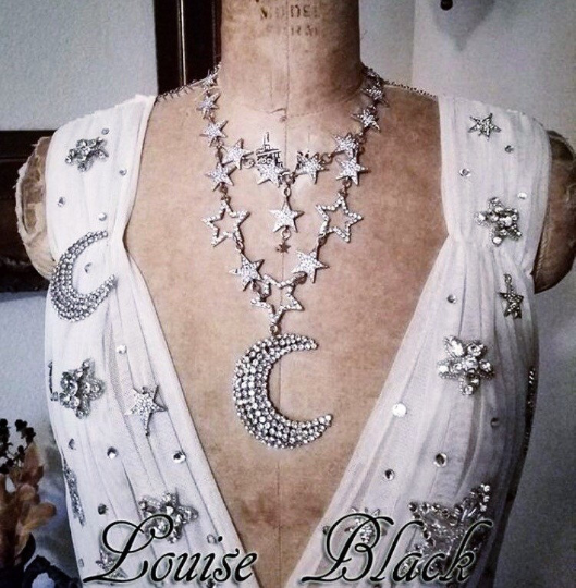 Celestial Luna Moon and Stars Rhinestone Necklace