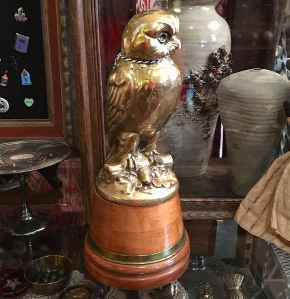 Gold Ceramic Owl Statue on Wood Base