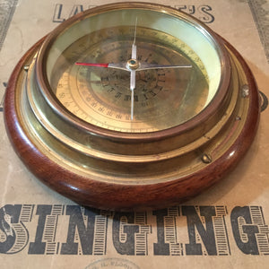 Vintage Brass and Wood Ship Compass