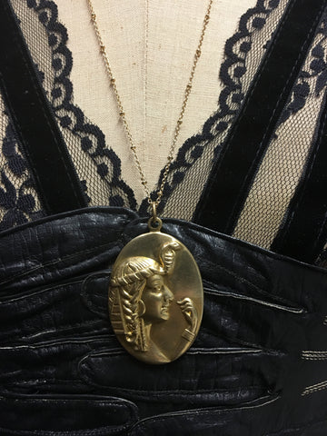 Egyptian Queen Brass Cameo Necklace