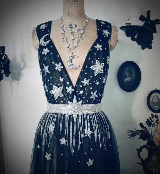 Reserved for Sandy B Sheer Celestial Moon and Stars Fairy Dress by Louise Black in your choice of Off White or Black Mesh in Gold or Silver stars