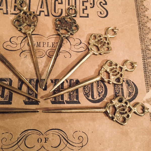 8 Ornate Brass  Hors d'oeuvre or Cocktail Picks