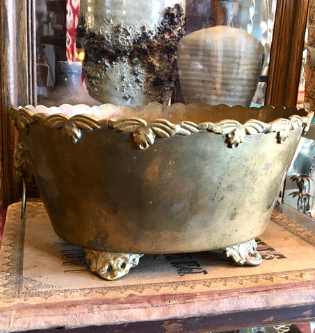 Brass Lion Head Ring Footed Planter Tub