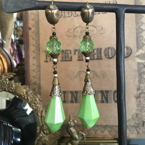 Absinthe Green Czech Glass Egyptian Scarab Earrings