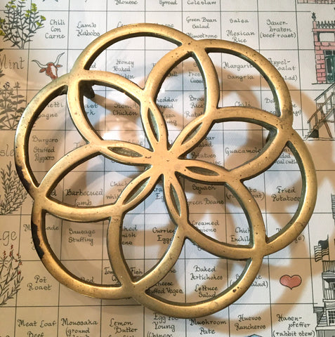 Solid Brass Seed of Life Trivet