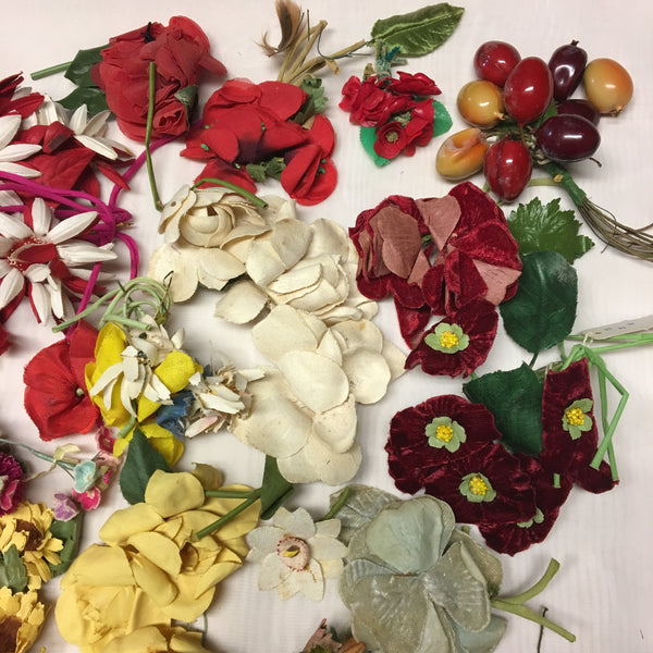 Vintage Colorful 1920's to 1960's Millinery Hat Flowers in Pink Red Yellow and Green Lot G