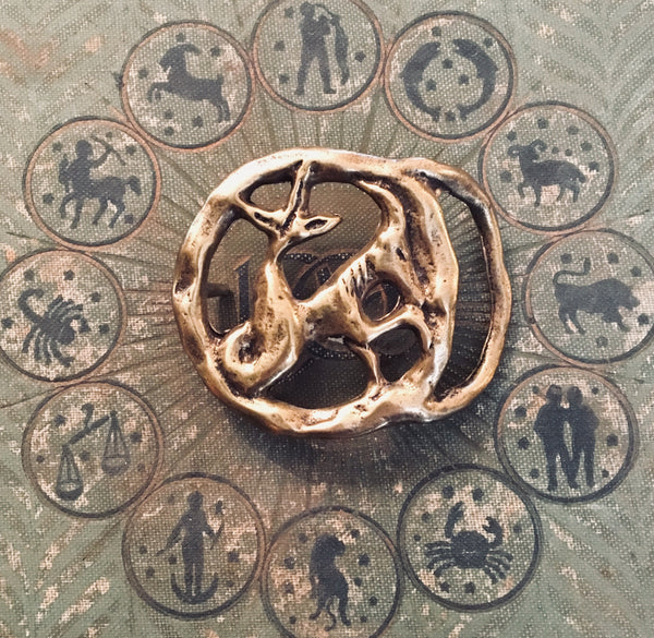 Brass Zodiac Horoscope Capricorn Belt Buckle