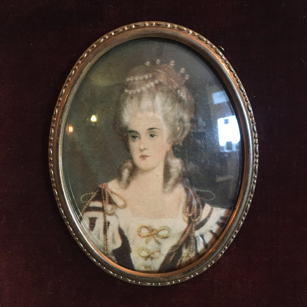 Ornate Framed Cameo Image of French Woman