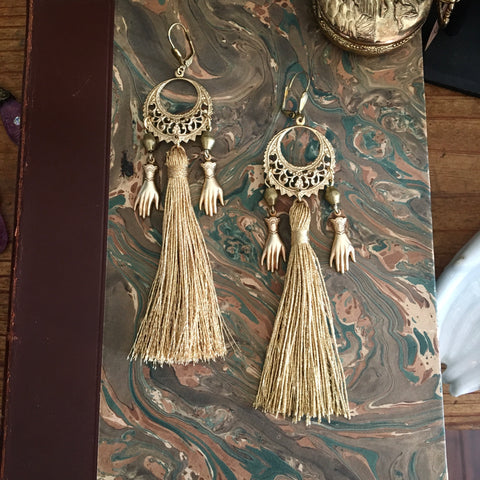 Hand and Moon Tassel Earrings