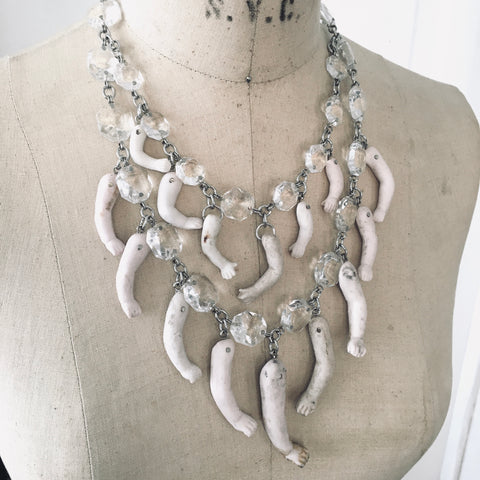 Avant Garde Tribal Bohemian Antique Doll Parts Necklace