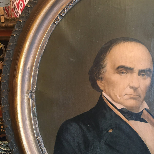 Antique Oval Frame with Print of Daniel Webster, American Statesman