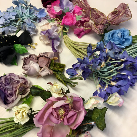 Vintage 1920's to 1960's Velvet Chiffon Millinery Hat Flowers in Blues and Purples Lot A